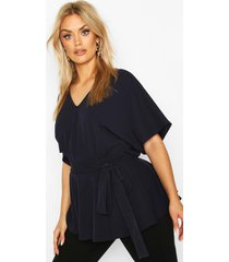 plus v-neck belted peplum top, navy