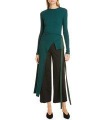 women's rosetta getty split apron cotton rib t-shirt, size x-small - green