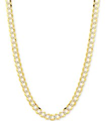 "22"" two-tone open curb link chain necklace in solid 14k gold & white gold"