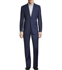 two-piece slim-fit tailored wool & silk suit