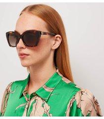 gucci women's gradient cat eye acetate sunglasses - havana/havana/brown