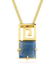 colar toque de joia labirinto quartzo azul ouro amarelo