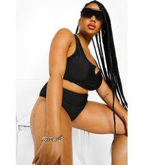 plus essentials bikini top met hals inkeping, black