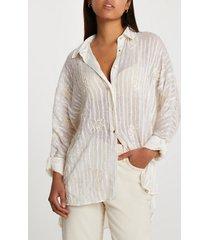 river island womens cream long sleeve embroidered shirt