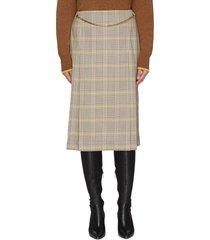 check print chain detail wool midi skirt
