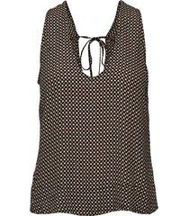 printed crepe blouse mouwloos ganni