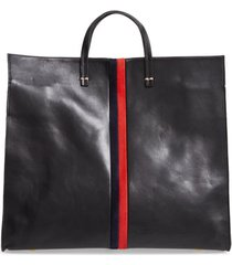 clare v. simple leather tote - black