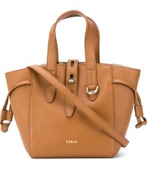 furla leather bucket bag with gold-tone hardware - brown