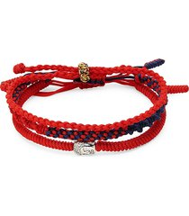 jean claude men's set of 3 tibetan buddha bracelets - red multi