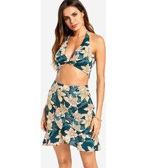 halter cuello top corto y faldas con volantes de tiro alto conjunto floral vestido