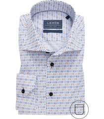 ledub overhemd modern fit blauw bruin printje