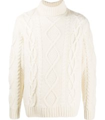 nudie jeans cable-knit jumper - white