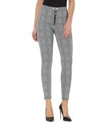 numero plaid mid-rise zip-front leggings