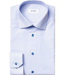 eton men's slim-fit graph check dress shirt - blue - size 16