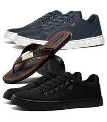 kit 2 pares de sapatênis skateboard sapatofran casual azul e preto com danper
