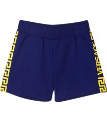 young versace blue shorts with yellow details