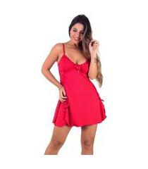 camisola vip lingerie em microfibra e renda vermelho
