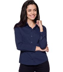 camisa intens manga longa tricoline azul marinho