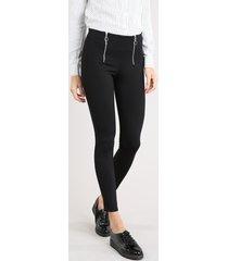 calça legging feminina com zíper de argola preta