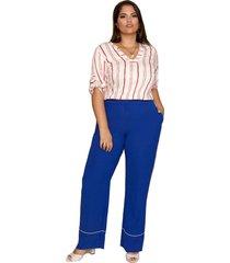 calça almaria plus size pianeta pantalona azul royal