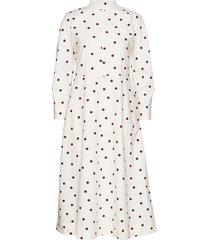 printed cotton poplin jurk knielengte wit ganni