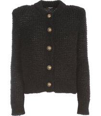balmain buttoned mohair mesh cardigan