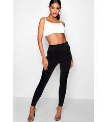 basic stretch scuba skinny fit broek, zwart