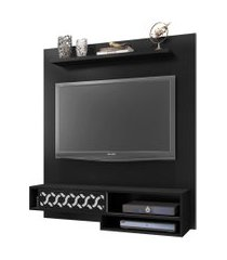 painel bancada suspensa para tv até 50 pol. orleans preto  móveis leáo