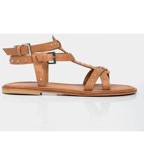 sandalia plana duna de cuero para mujer tiras cruzadas taches decorativos