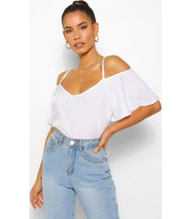 pastel cold shoulder cami top, white