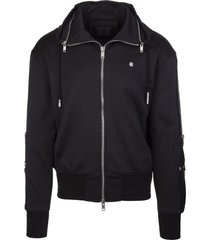 givenchy man black sweatshirt in technical jersey with zip and 4g logo