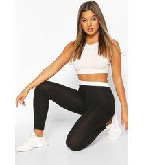 contrast elastic waistband legging, black