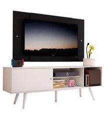 rack madesa cairo e painel para tv até 58 polegadas com pés de madeira branco/preto 0977 mdes0200180977