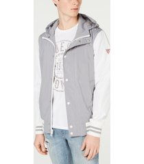 guess men's lightweight seersucker colorblocked jacket