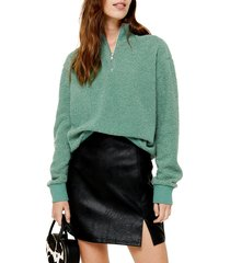 women's topshop half zip funnel neck sweatshirt