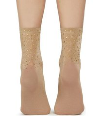 calzedonia fancy socks with appliqué rhinestone details woman brown size tu