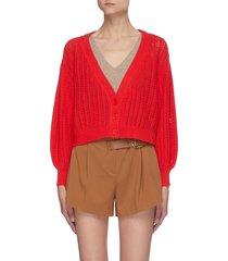 'winsor' openwork knit crop cardigan