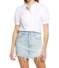 women's english factory puff button front blouse, size large - white
