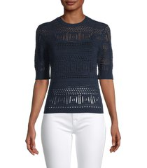 frame women's open-stitch 70s sweater - navy - size s