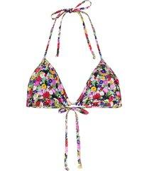 la doublej floral print triangle bikini top - green