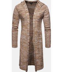 mens casual knit snowflake modello colletto con cappuccio medio lungo sottile cardigan aderente
