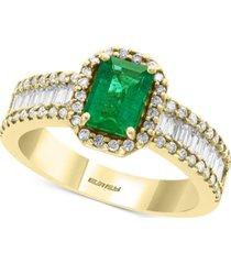 effy diamond (5/8 ct. t.w.) & emerald (9/10 ct. t.w.) ring in 14k yellow gold