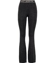off-white lurex knit trousers