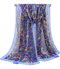 donna 160cm sciarpa e scialle in chiffon con stampa di gufi carini d'autunno