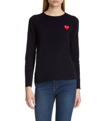 women's comme des garcons play wool sweater, size medium - blue