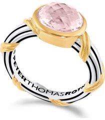 fantasies prasiolite oval bezel set ring in two tone sterling silver