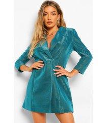 metallic blazer jurk, turquoise