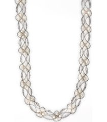 """effy cultured freshwater pearl (3-1/2 mm) mesh cage 18"""" statement necklace in sterling silver"""