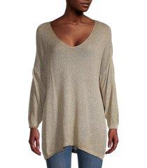 tempo, paris women's oversized metallic dropped-shoulder sweater - silver - size m/l