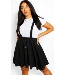 plus pinafore rok met knopen, zwart